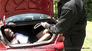 Naked in car trunk bondage