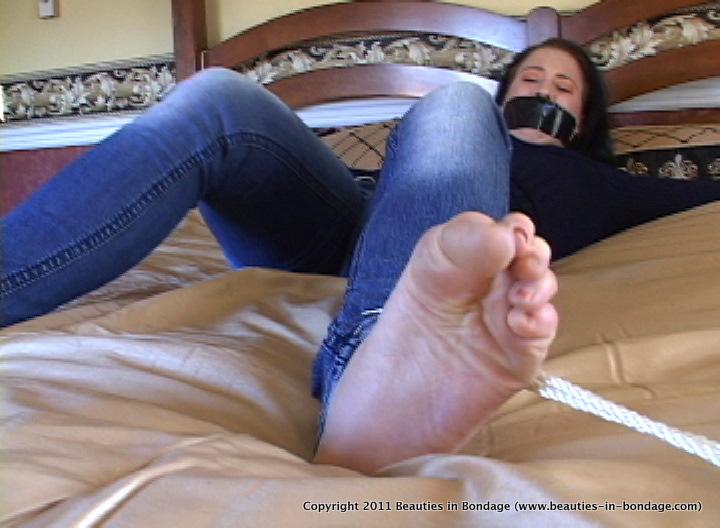 Bare bondage foot tied toe